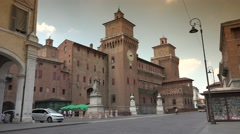 Castello Estense and street,Ferrara, Italy, ultra hd 4k, real time Stock Footage