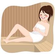 Sauna Woman Relaxing - stock illustration