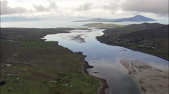 Flying Past Achill Sound Towards Clew Bay Stock Footage