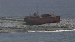 Ship Wreck On Inisheer Island Stock Footage