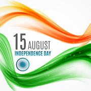 Indian Independence Day Background with Waves and Ashoka Wheel. Vector Stock Illustration