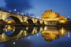 Rome. Image of the Castle of Holy Angel and Holy Angel Bridge over the Tiber Stock Photos