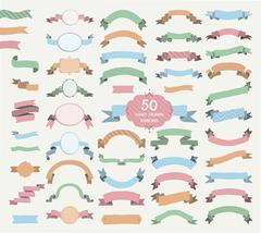 Fifty Vector Colorful Hand Drawn Ribbons, Banners, Frames - stock illustration