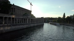 Berlin museum sundown over river spree, germany Stock Footage