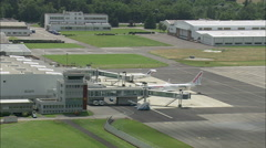 Landing At Tarbes Ossun Lourdes Airport Stock Footage