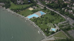Lake Geneva Eastern Shoreline Stock Footage