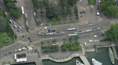Zurich Station With Trams And Trains Stock Footage