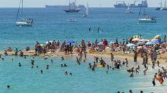 Beaches of Barcelona city.Time lapse.Tilt-shift effect.4k. - stock footage