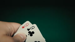 A pair of nines in a hand on the table. Pocker Stock Footage