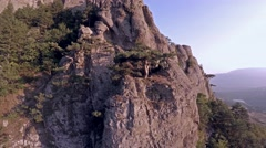 Crimea Ghosts Valley Mountain. Flying around the tree. - stock footage