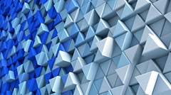 Wall of blue and white extruded triangles 3D render loopable 4k UHD (3840x2160) Stock Footage