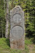 Boundary stone between the historic Swedish provinces Aangermanland and Jemtl - stock photo