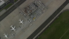 Frankfurt Airport At Dusk Stock Footage