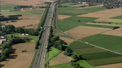Follow A5 Motorway To Reveal Frankfurt In Distance Stock Footage