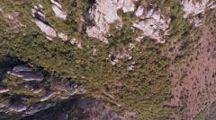 Crimea Ghosts Valley Mountain. Drone bottom camera turns toward the horizon. Stock Footage