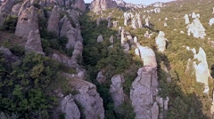 Crimea Ghosts Valley Mountain. Drone flies slowly to the right. - stock footage