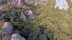 Crimea Ghosts Valley Mountain.  Drone flies back. - stock footage