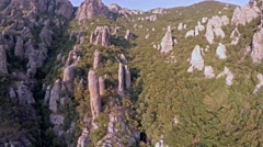 Crimea Ghosts Valley Mountain. Drone lands. Overall plan. - stock footage