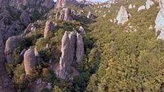 Crimea Ghosts Valley Mountain. Drone slowly flies up to the mountain. Stock Footage