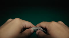 A pair of aces in a hand on the table. Pocker Stock Footage