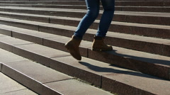 Female student climbing stairs on the way to university, happy college life Stock Footage