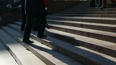 Busy people climbing up and down the stairs, crowd near architectural building Stock Footage