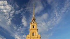 Iconic Peter and Paul Cathedral tower spire, nice bell sound hourly chiming Stock Footage