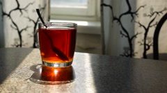 Cup of tea in morning Stock Footage