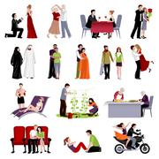 Couples People Flat Set - stock illustration