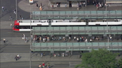 Bremen Train And Tram Station Stock Footage