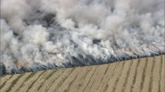 Burning Stubble Near Damsholte Stock Footage