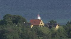 Klintholm Havn To Lighthouse At Mons Klint Stock Footage