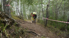 male athlete competitor downhill - stock footage