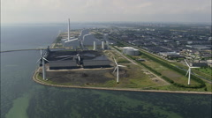 Power Station And Windmills Stock Footage
