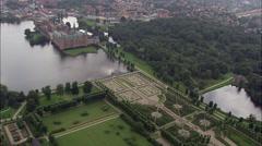 Frederiksborg aerial Stock Footage