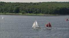 Yachts Off Tasinge Island Stock Footage