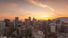 4K Time lapse zoom in Vancouver skyline sunset Stock Footage