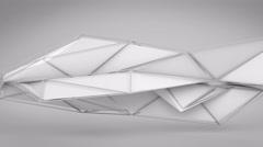 White abstract futuristic polygonal 3D shape. Loop 4k UHD (3840x2160) Stock Footage
