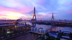Bhumiphol bridge bangkok thailand Stock Footage