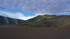 Panorama overview of active smoking Bromo volcano Stock Footage