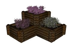 Plant and flowers in boxes - 3D render Stock Illustration