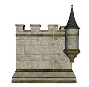 Castle wall and tower - 3D render Stock Illustration
