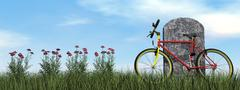 Cyclist tombstone - 3D render Stock Illustration