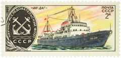 Russian research ship Ayu-Dag on postage stamp Stock Photos