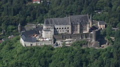 Vianden Castle And Village Stock Footage