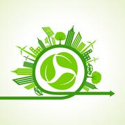 Eco city concept with recycle icon of leaf stock vector Stock Illustration