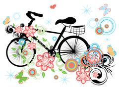 Bicycle and Floral Ornament Stock Illustration