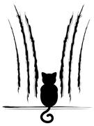 Black Cat Silhouette with Scratches Stock Illustration
