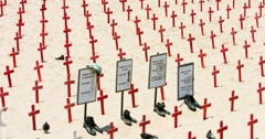 Crosses at the memorial military cemetery of fallen soldiers of Iraq war, 4K Stock Footage