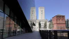 Liverpool old and new reflection in modern glass office block.mp4 Stock Footage